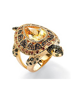 Multi-Colored Cubic Zirconia Turtle Ring by PalmBeach Jewelry