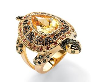 Multi-Colored Cubic Zirconia Turtle Ring