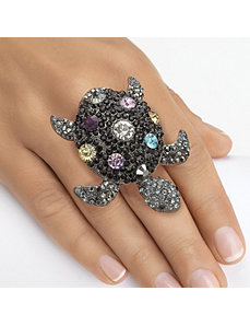 Multi-Crystal Turtle Stretch Ring by PalmBeach Jewelry