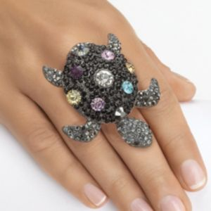 Multi-Crystal Turtle Stretch Ring