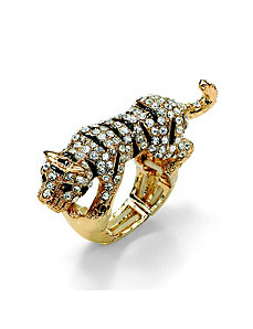 Multi-Crystal Tiger Stretch Ring by PalmBeach Jewelry