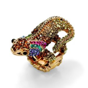 Multi-Crystal Gecko Lizard Ring