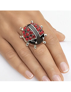 Crystal Ladybug Stretch Ring by PalmBeach Jewelry