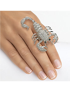 Multi-Crystal Scorpion Stretch Ring by PalmBeach Jewelry