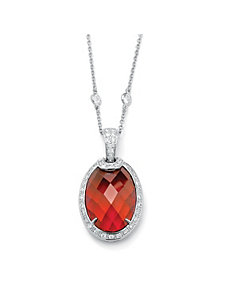 Red & White Cubic Zirconia Pendant and Chain by PalmBeach Jewelry