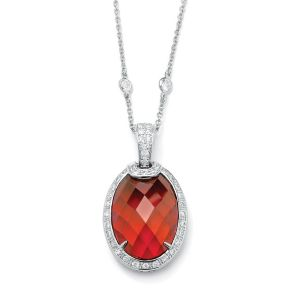 Red & White Cubic Zirconia Pendant and Chain