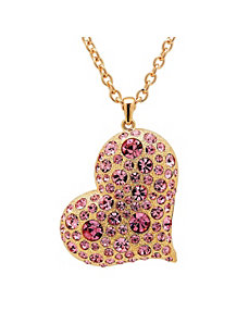 Pink Crystal Heart-Shaped Pendant by PalmBeach Jewelry