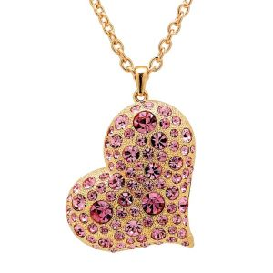 Pink Crystal Heart-Shaped Pendant