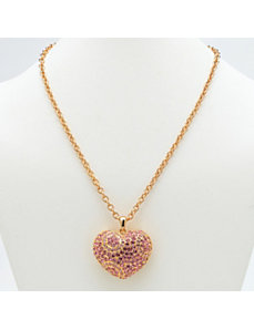 Pink Crystal Heart Pendant by PalmBeach Jewelry