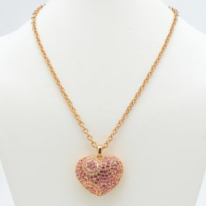 Pink Crystal Heart Pendant