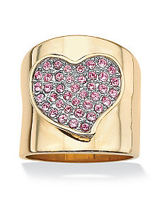 Pink Crystal Heart Ring by PalmBeach Jewelry