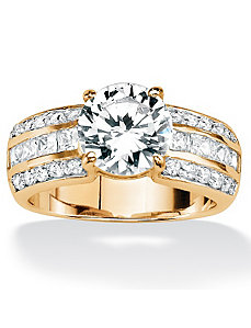 Round & Princess-Cut Cubic Zirconia Ring by PalmBeach Jewelry