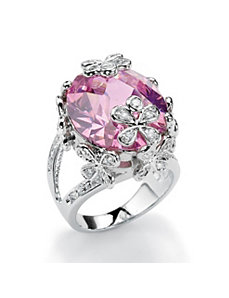 Pink and White Cubic Zirconia Flower Ring by PalmBeach Jewelry