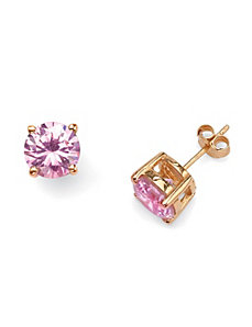 Pink Cubic Zirconia Stud Earrings by PalmBeach Jewelry