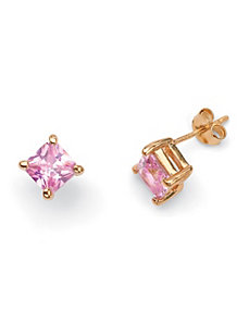 Princess-Cut Pink Pierced Earrings by PalmBeach Jewelry