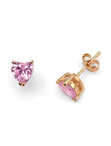 Pink Heart Pierced Earrings by PalmBeach Jewelry