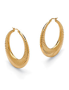 Ribbed Hoop Pierced Earrings by PalmBeach Jewelry