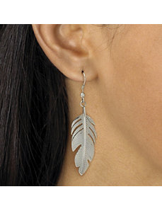 Feather Motif Drop Pierced Earrings by PalmBeach Jewelry
