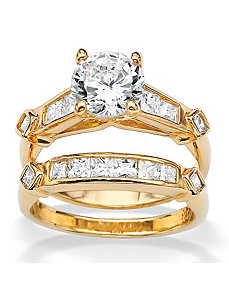 Round and Princess-Cut Cubic Zirconia Ring Set by PalmBeach Jewelry