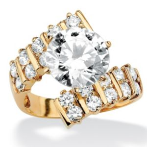 Round Cubic Zirconia Bypass Ring
