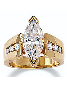 Marquise-Cut and Round Cubic Zirconia Ring by PalmBeach Jewelry