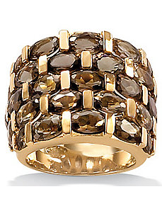 Five-Row Smoky Quartz Ring by PalmBeach Jewelry