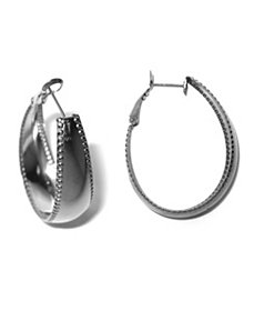Oval Milgrain-Edged Hoop Earrings by PalmBeach Jewelry