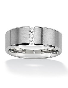 Stainless Steel Cubic Zirconia Wedding Band by PalmBeach Jewelry