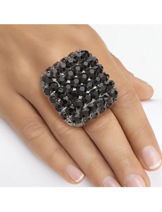 Black Crystal Square Stretch Ring by PalmBeach Jewelry