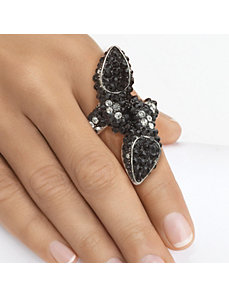 Black & White Crystal Stretch Ring by PalmBeach Jewelry