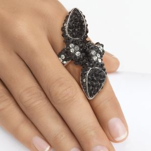 Black & White Crystal Stretch Ring