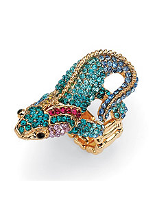 Multi-Crystal Gecko Stretch Ring by PalmBeach Jewelry