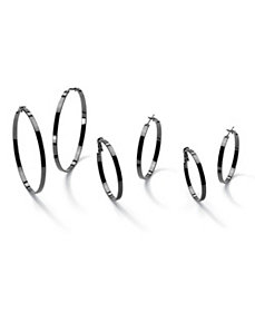 Three Pairs of Hoop Earrings by PalmBeach Jewelry