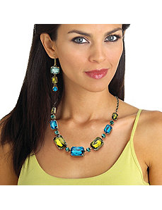 Blue and Green Lucite Necklace by PalmBeach Jewelry