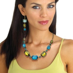 Blue and Green Lucite Necklace