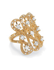 Cubic Zirconia Beaded Looped Ring by PalmBeach Jewelry