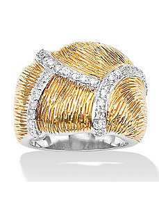 Cubic Zirconia Textured Free-Form Dome Ring by PalmBeach Jewelry