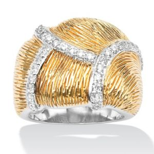 Cubic Zirconia Textured Free-Form Dome Ring