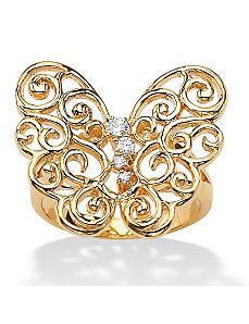 Cubic Zirconia Openwork Butterfly Ring by PalmBeach Jewelry