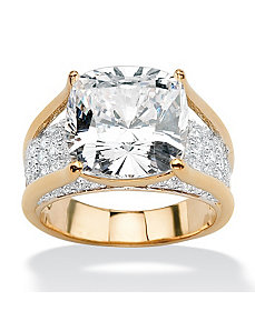 Cushion-Cut and Round Cubic Zirconia Ring by PalmBeach Jewelry