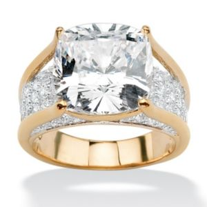 Cushion-Cut and Round Cubic Zirconia Ring