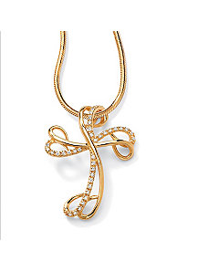Cubic Zirconia Ribbon Cross Pendant by PalmBeach Jewelry