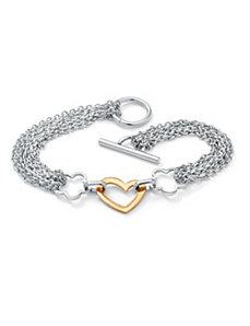 Free-Form Heart Chain Bracelet by PalmBeach Jewelry