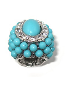 Simulated Turquoise/Crystal Ring by PalmBeach Jewelry