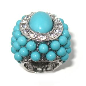 Simulated Turquoise/Crystal Ring
