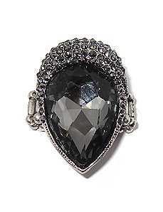 Grey Crystal Stretch Ring by PalmBeach Jewelry