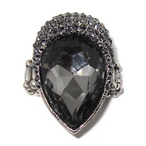 Grey Crystal Stretch Ring