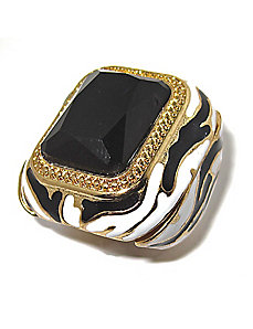 Black Crystal Zebra Motif Ring by PalmBeach Jewelry