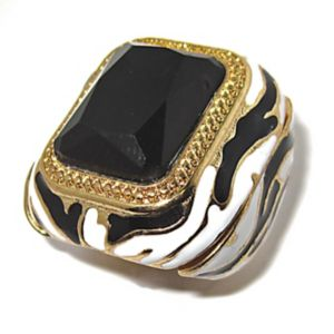 Black Crystal Zebra Motif Ring
