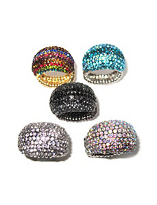 Set of Five Crystal Dome Rings by PalmBeach Jewelry
